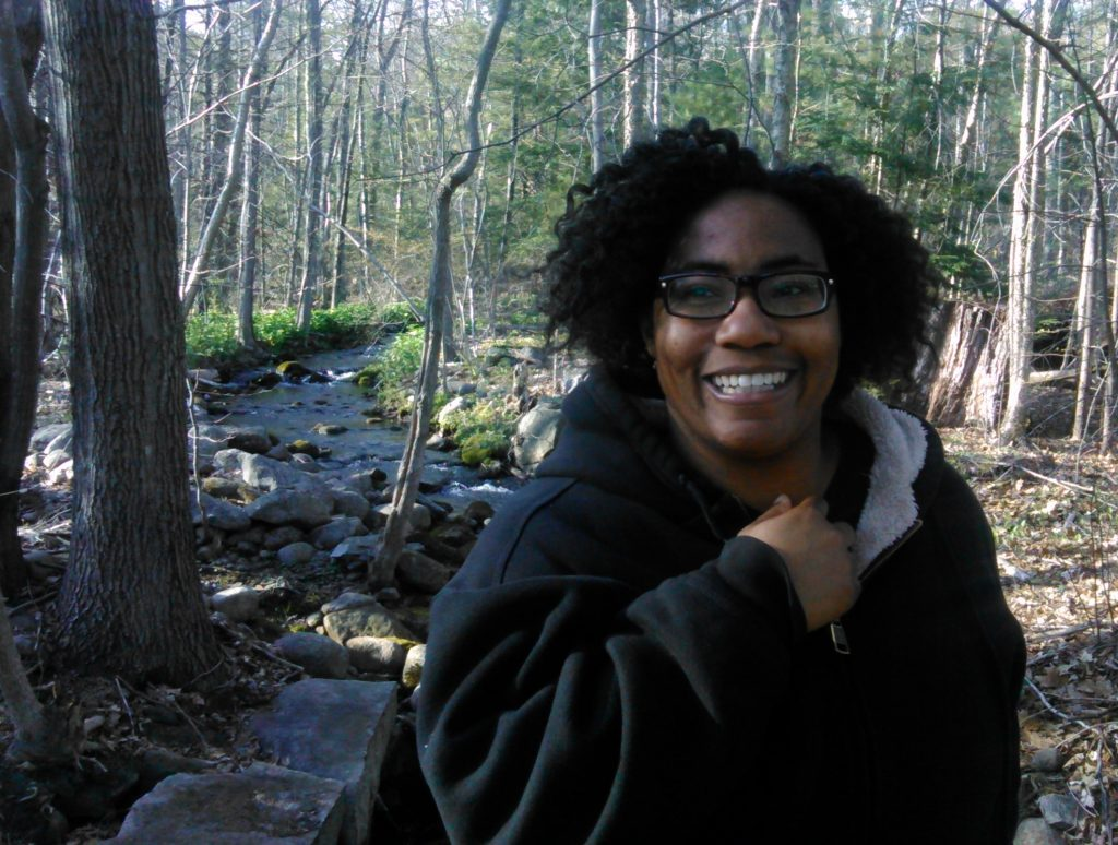 DeMisty hiking in the woods--image.
